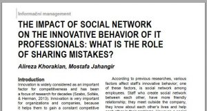 The Impact of Social Network on the Innovative Behavior of IT Professionals What is the role of sharing mistakes